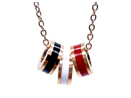 Ocelový náhrdelník ve starorůžové barvě