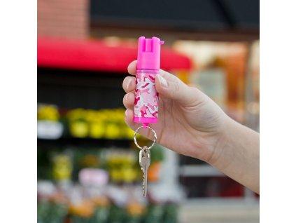 SABRE RED Paprika spray .54 oz kulcstartóval, rózsaszín terep mintás tokkal