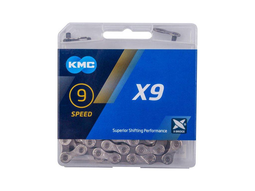 řetěz KMC X9 stříbrný 114 čl. BOX