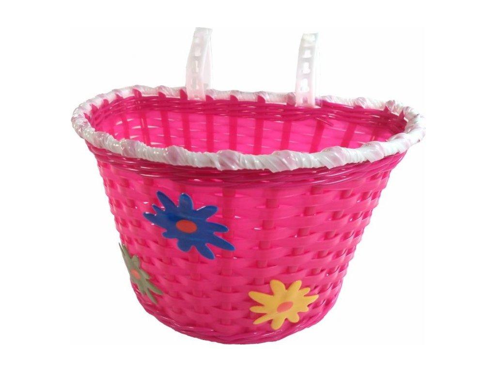 koš dětský barevný růžový květiny + pásky