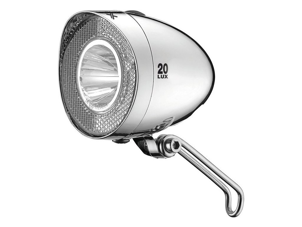 XLC svetlomet na baterie LED Retro pov.StVZO pro všechna kola,chrom 20 Lux