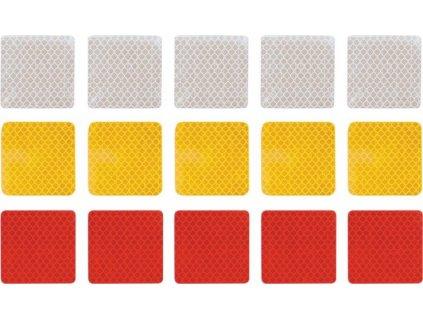 samolepka reflexní čtverečky 5 x 5 cm - mix 15ks