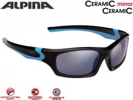 ALPINA Detské okuliare FLEXXY TEEN  - čierna-neon žltá, sklá: čierne zrkadlové