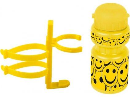 lahev Ventura dětská + držák Smajlík žlutá
