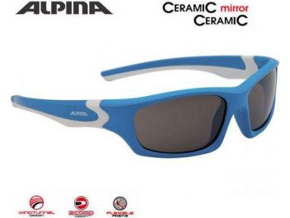 ALPINA Detské okuliare FLEXXY TEEN  - cyan-biele, sklá: čierna mirror S3