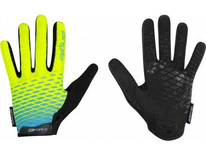 rukavice FORCE KID MTB ANGLE letní, fluo-modré XL