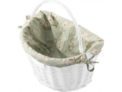 Dekoračný poťah do prúteného košíka CREDO green/white flowers