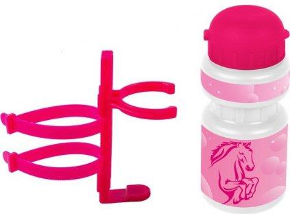 lahev Ventura dětská + držák Kůň růžová