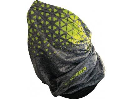 Chiba Multifunkcní šátek Sommer tm.šedá /neon.žlutá