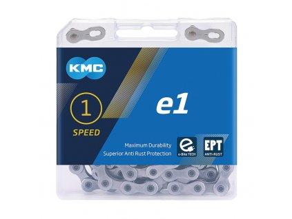 """Retez KMC e1 EPT pro náboj.razení 1/2 x 3/32"""", úzký, 130 clánku,stríbrná"""