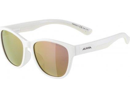 Slunecní brýle  Alpina FlexxyCool Kids I Obroucky bílá sklo ružová zrcadl.