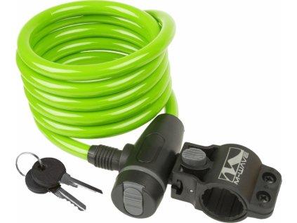 Špirálový zámok M-WAVE 180cm 10mm, klip na sedlovku, zelený