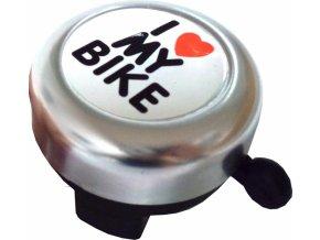 Zvonček love my bike chromový