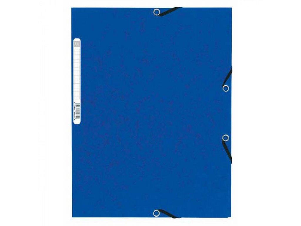 Odkladacia mapa 3 chlopňová s gumou prešpán modrá