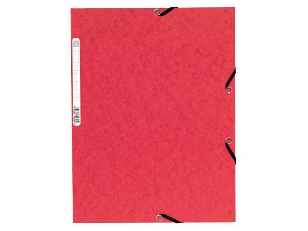 Odkladacia mapa 3 chlopňová s gumou prešpán červená