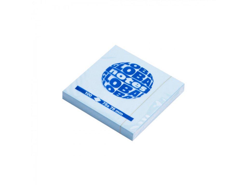 Bločky samolepiace GLOBAL 75x75mm modrý pastel 12