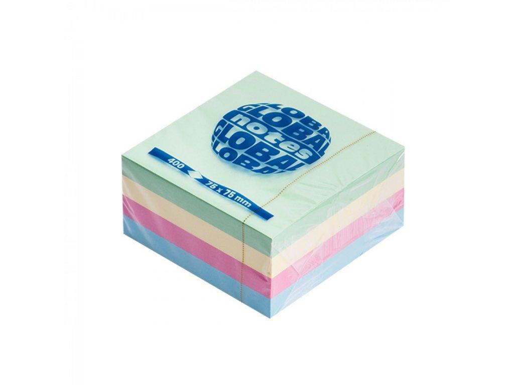 Bločky samolepiace GLOBAL 75x75mm Pastel 400 lístkov Mix farieb