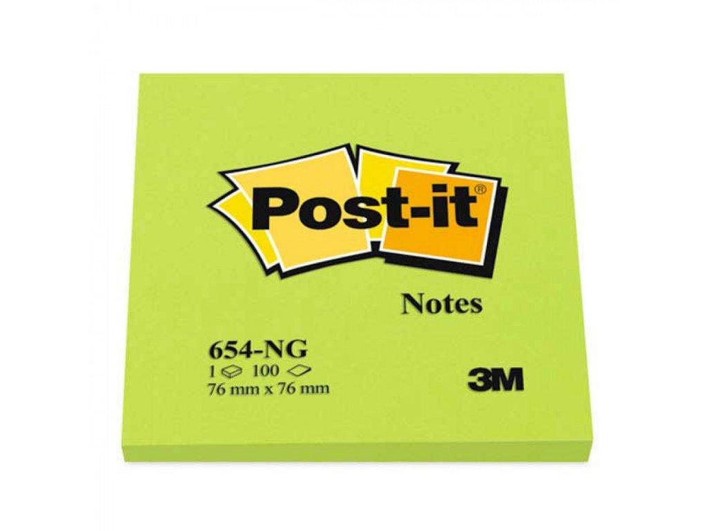 Bločky samolepiace Post it 76x76 neón zelená MM654NG