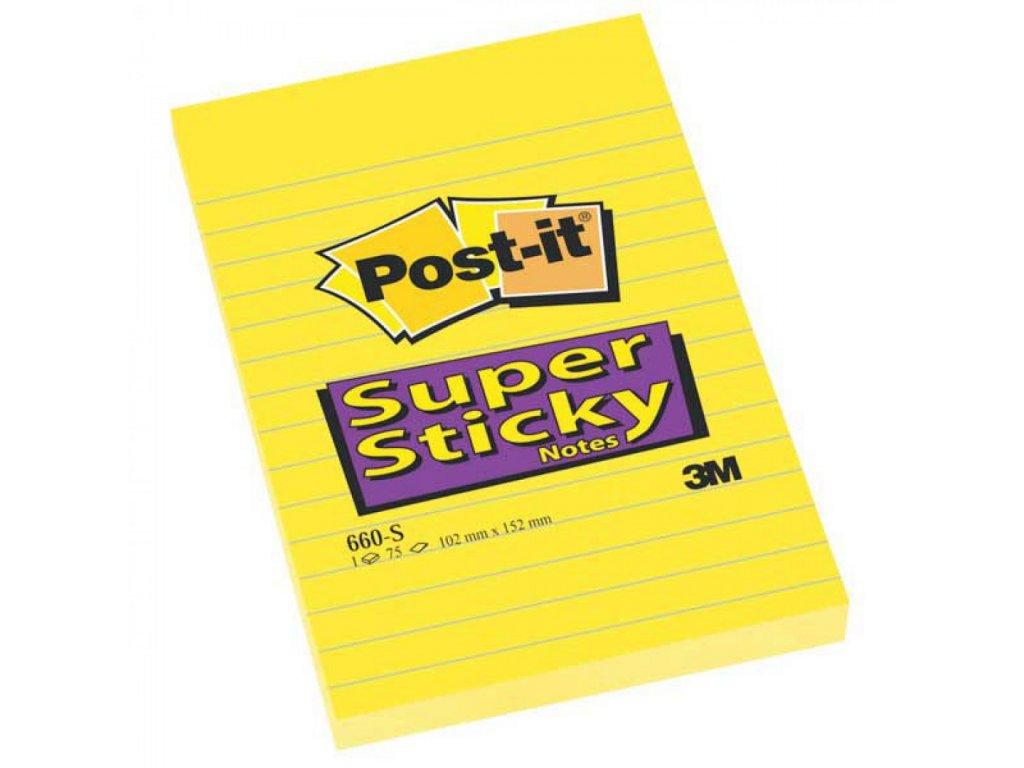 Bločky samolepiace Post it SuperSticky 102x152 žlté linajkové MM660S