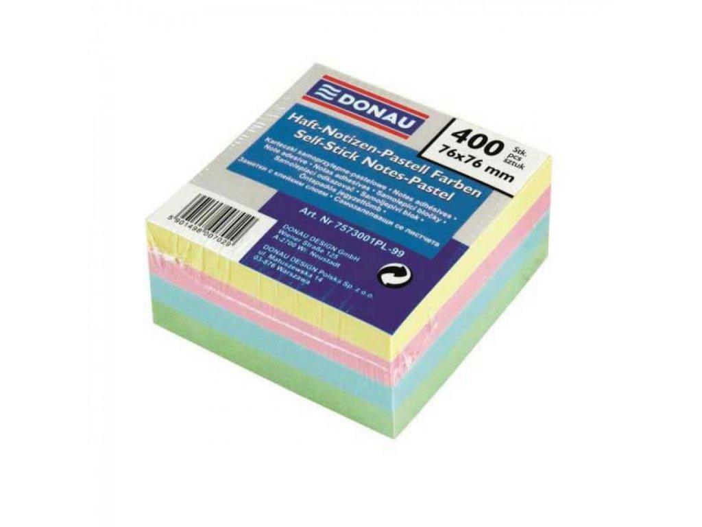 Blok kocka samolepiaca pastelové farby 76x76mm
