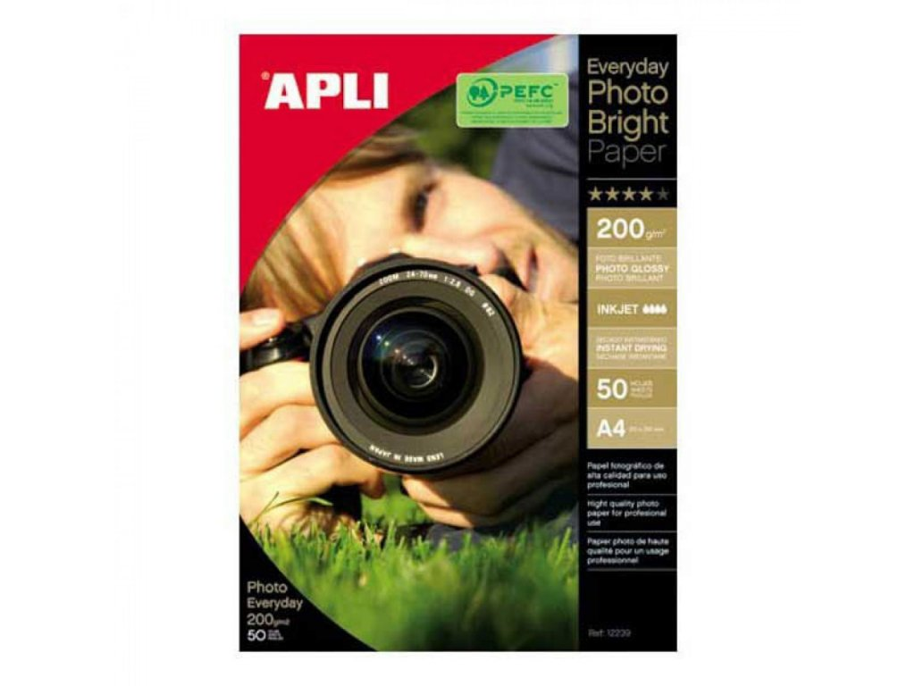 Fotopapier A4 APLI EVERYDAY bright 200g 50 list.