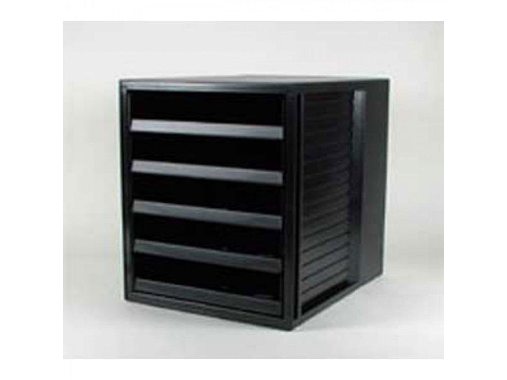 Zásuvkový box otvorený čierno-čierny