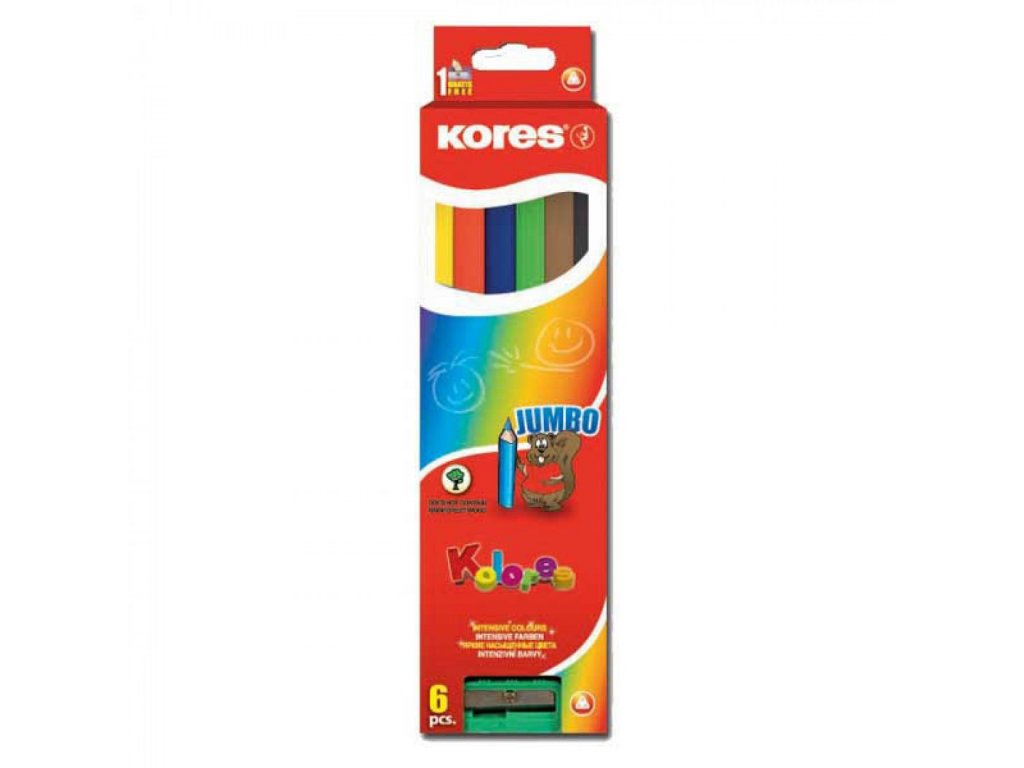 Farbičky Jumbo trojhranné 5mm, s jumbo strúhadlom 6 ks