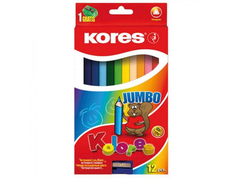 Farbičky Jumbo trojhranné 5mm, s jumbo strúhadlom 12 ks