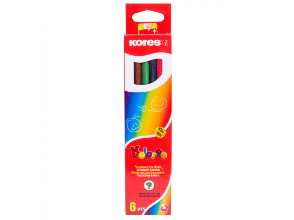 Trojhranné pastelky, 3mm 6 ks v krabičke