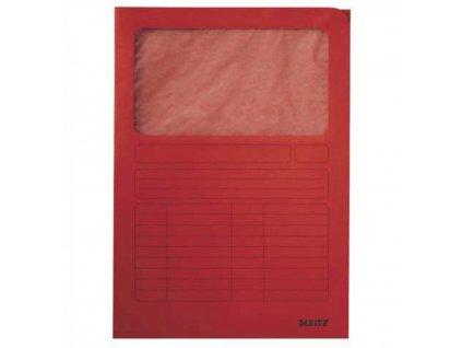 Zakladacie zložky Leitz s okienkom červené