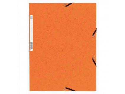 Odkladacia mapa 3 chlopňová s gumou prešpán oranžová