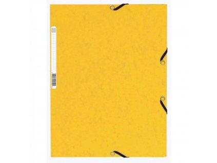 Odkladacia mapa 3 chlopňová s gumou prešpán žltá