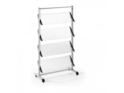 Mobilný prezentačný stojan Helit 12xA4 sivý/akryl