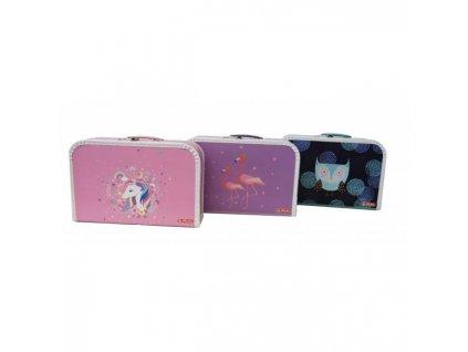 Detský kufrík 35 cm dievčatá mix motívov Korunka Panda Tlkot srdca Dúhové motýle