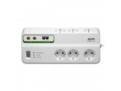 Prepäťová ochrana APC 6 zásuviek, ochrana tel.linky 230V 3m
