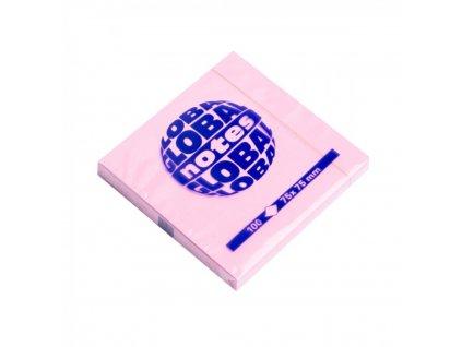 Bločky samolepiace GLOBAL 75x75mm ružový pastel 120