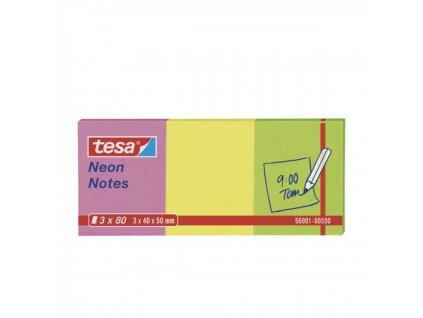 Samolepiace bločky TESA 50x40 mm NEON 3x80 ks