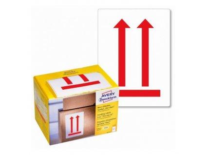 Etikety Avery s varovným symbolom Neklopiť 74x100mm na kotúči