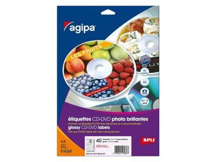 Etikety univerzálne na CD DVD priemer 114mm Agipa 100 hárkov
