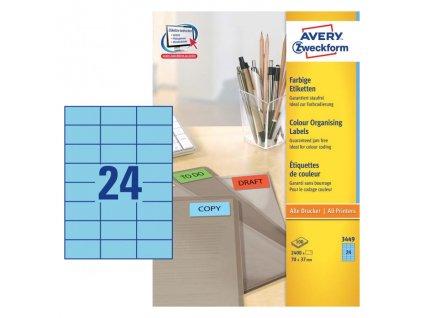 Etikety farebné 70x37mm Avery A4 100 hárkov modré