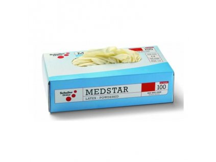 Rukavice MEDSTAR jednorazové latex. nepudrované, biele M 100ks