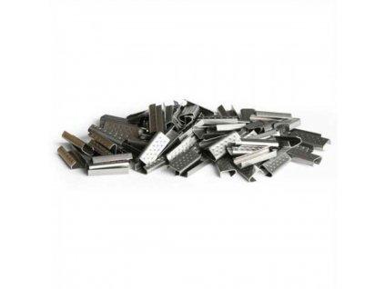 V.spony pre PP pásku 9 10 mm oceľ,perfor,prekrýv,1000 ks kart VP11866