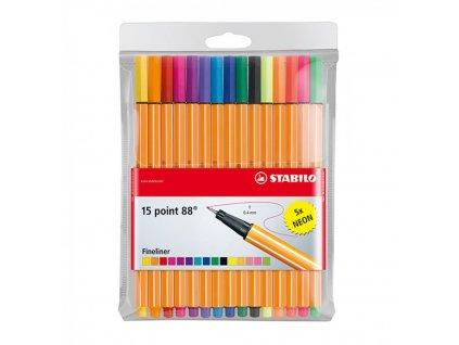Liner atramentový STABILO point 88 15 ks puzdro vrátane 5 Neon farieb