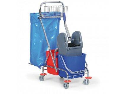 Upratovací vozík 2x, M + Č, úchyt na vrece