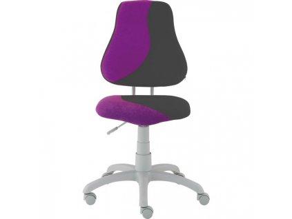 Detská rastúca stolička FUXO S-LINE fialovo/sivá (Suedine)