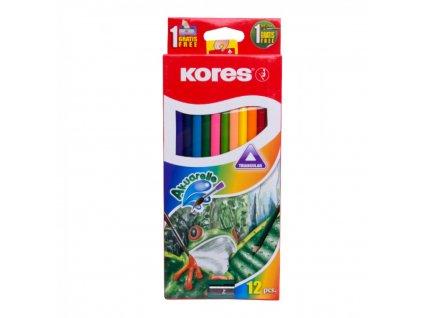 Trojhranné pastelky, 3mm, so strúhadlom 12 ks v krabičke