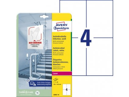 Etikety antimikrobiálne 105x148mm Avery A4 biele 10 hárkov