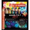 Farbičky STABILO woody 3 in1 6ks so strúhadlom `ARTY`