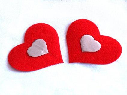 Červená lepítka na bradavky srdíčka NC063