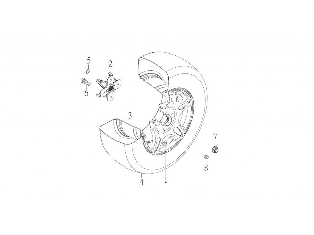 "SMC 720R - rozkres - FRONT WHEEL (14"" alloy wheel )"